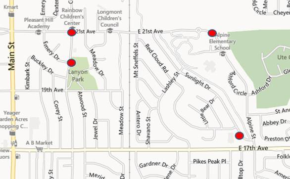 Locations in Longmont where police said a man riding a bicycle has grabbed women as he passes them.