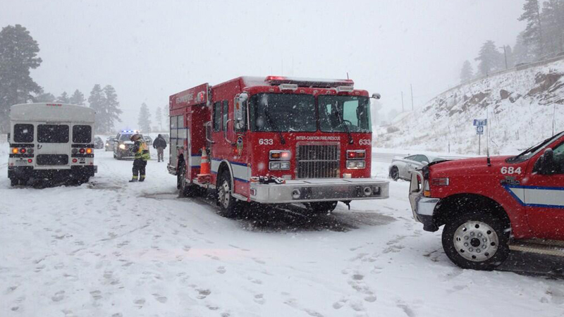 Several vehicles pileup on US 285 at Windy Point in Jefferson County. Photo: Inter Canyon Fire Protection District