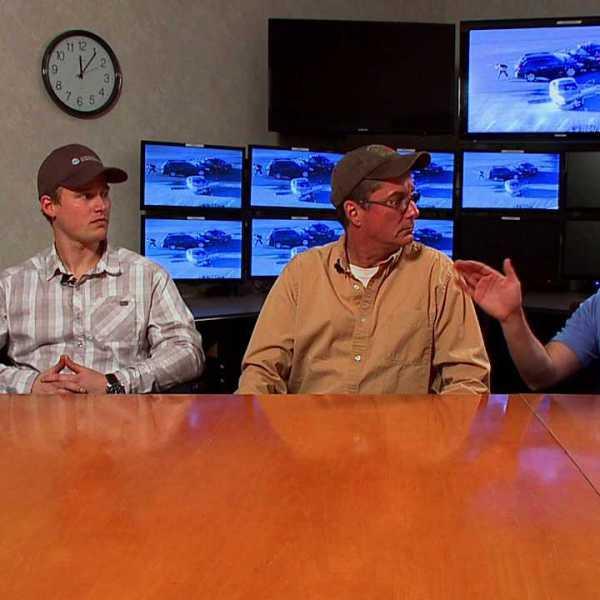 Matt Fess, SkyFOX pilot, left, John Morrissey, 850 KOA reporter, center, Cody Crouch, SkyFOX photojournalist, right