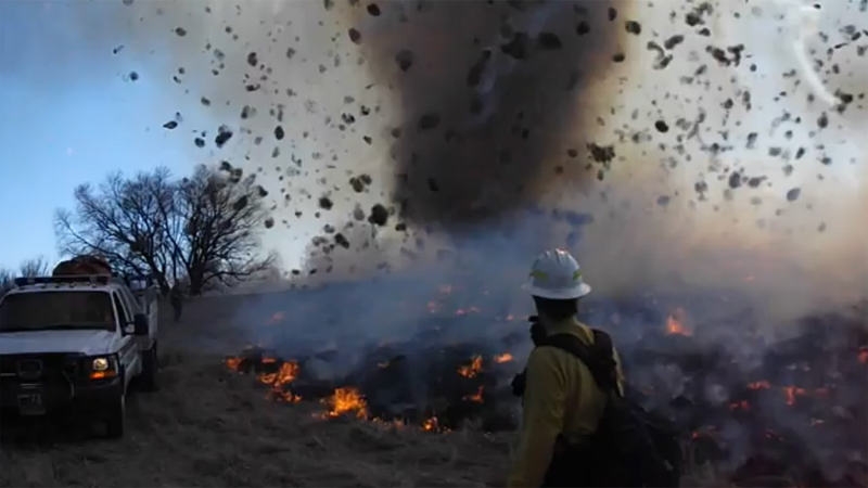 Whirlwind kicked up during controlled burn at Rocky Mountain Arsenal Wildlife Refuge near Denver. March 14, 2014. Courtesy: Thomas Rogers