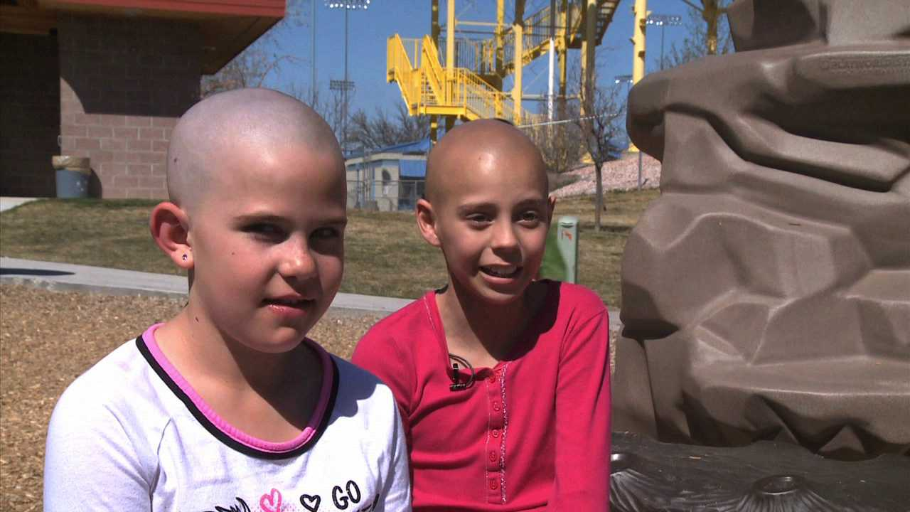 Kamryn, left, shaved her head to support her friend, Delaney, who is undergoing chemotherapy to treat cancer