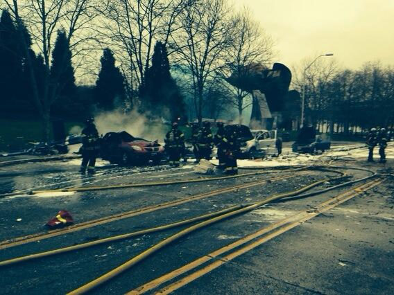 Two were killed when a KOMO news helicopter crashed on Broad Street in Seattle near the Space Needle on March 18, 2014. (Photo: Seattle Fire Department/Twitter)