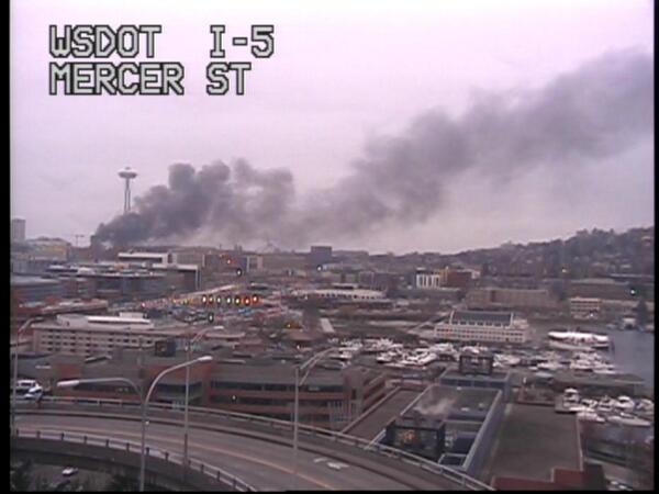 Two were killed when a KOMO news helicopter crashed on Broad Street in Seattle near the Space Needle on March 18, 2014. (Photo: WSDOT/Twitter)