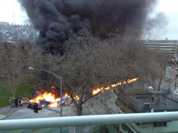 Two were killed when a KOMO news helicopter crashed on Broad Street in Seattle near the Space Needle on March 18, 2014. (Photo: Michael Harthorne/KOMO News)