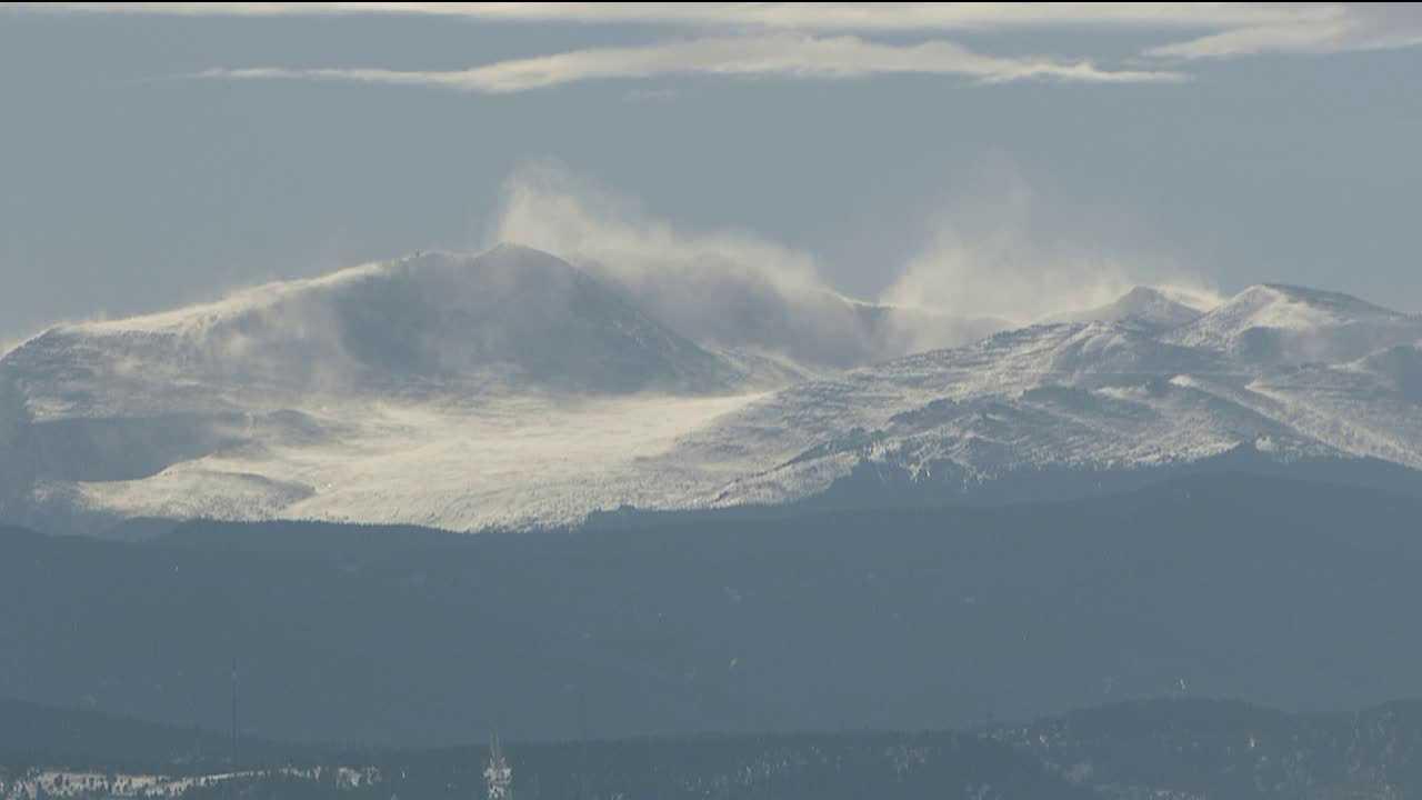 Wind-blown snow off of Mt. Evans, Colorado. Image: SkyFOX