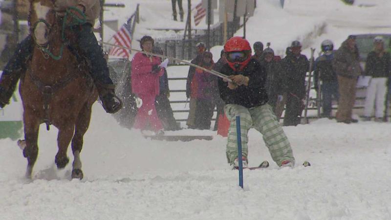 Ski joring on Main Street in Leadville, Colo.