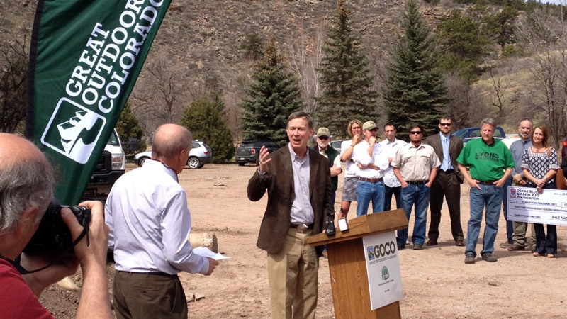 Gov. Hickenlooper announced $13 million to fund flood recovery projects on April 9, 2014. (Photo: Great Outdoors Colorado)