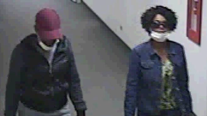 Two female suspects were caught on surveillance camera after allegedly stealing wallets from a hospital on March 25 and 26, 2014. (Photo: Metro Denver Crime Stoppers)
