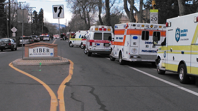 Several ambulances gathered outside the Jefferson County Open School after a hazardous materials incident there Monday afternoon.