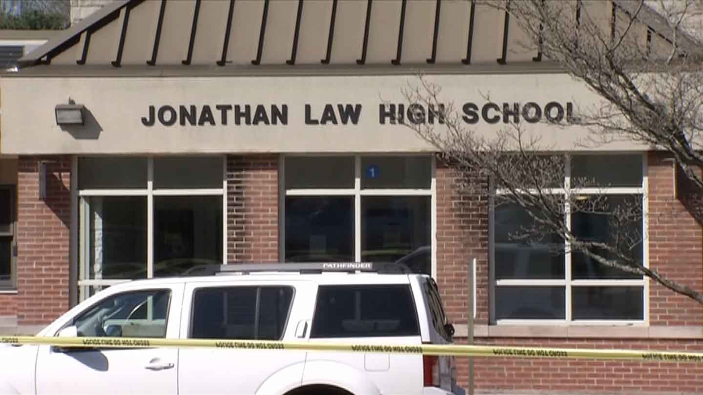 Police responded to a deadly stabbing at Jonathan Law High School in Milford, Connecticut Friday morning, April 25, 2014. One student, 16-year-old Maren Sanchez, was found injured in a stairwell and later died.