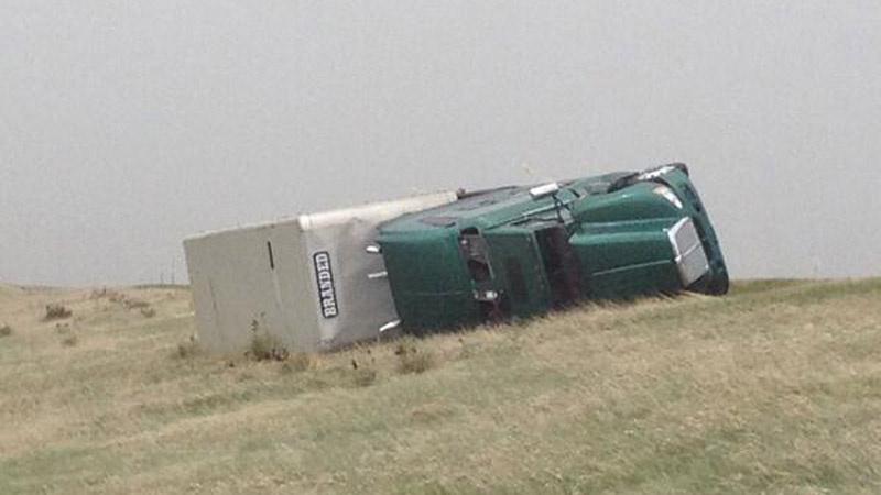 Twelve to 15 semis rolled over along I-70 April 29, 2014 due to high winds. (Photo: CSP Limon/Twitter)