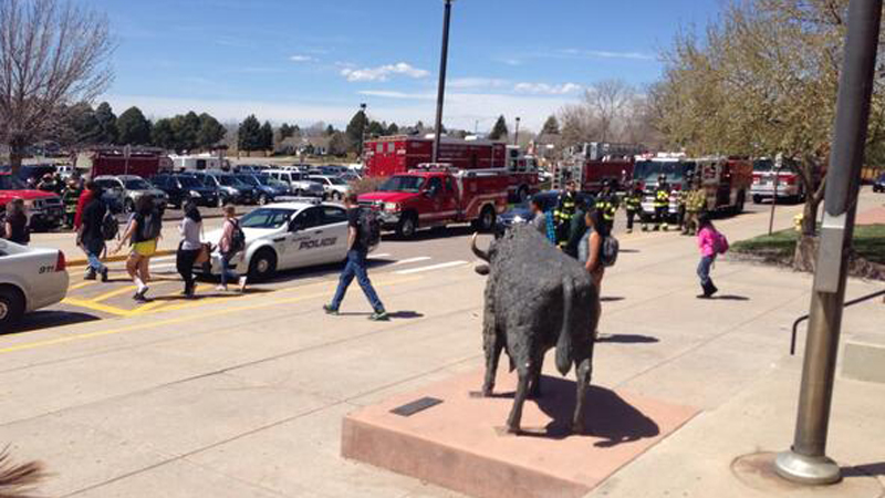 Students at Smoky Hill High School in Aurora were evacuated Friday afternoon. (Photo: Hayley Buchanann)