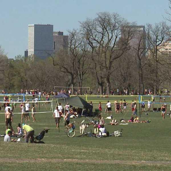 People active in Washington Park in Denver.