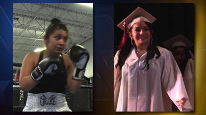 """Cecelia """"CeCe"""" Martinez as a boxer and high school graduate"""