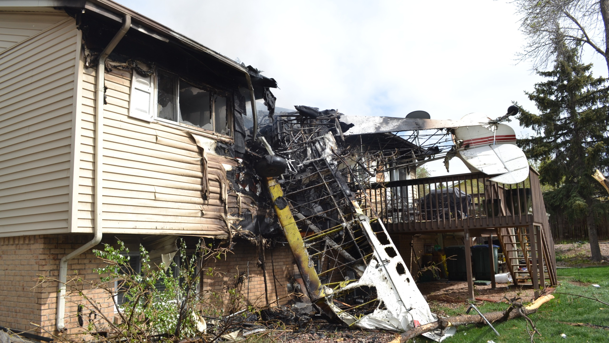 Plane crashes into Northglenn home. Photo Credit: North Metro Fire Rescue District