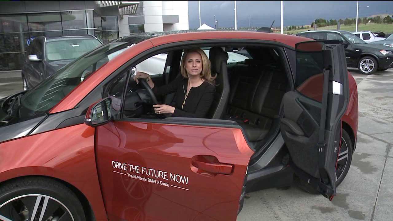Aristea Brady in a BMW I3 electric car