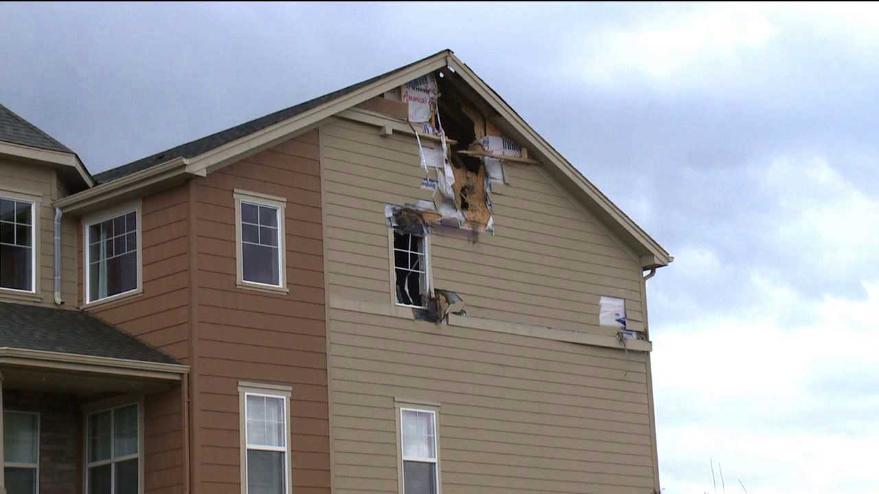 Lightning rips hole into house in Thornton, Colo.