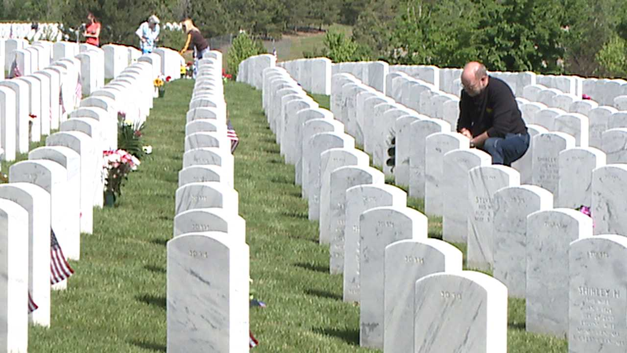 Fort Logan National Cemetery in Denver on Memorial Day