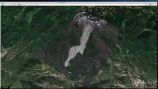 Satllite image of Grand Mesa mudslide. Courtesy: DigitalGlobe, Longmont, Colo. and Google