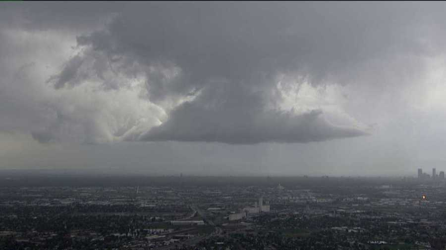 A wall cloud formed over Denver during more severe weather Thursday afternoon.