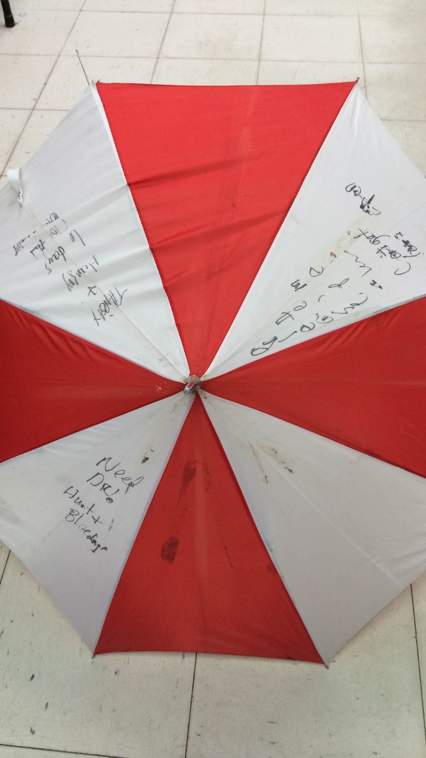 Kristin Hopkins, who survived for six days without food or water in her wrecked car, used this umbrella as an SOS message. (Photo: Brian Willie)