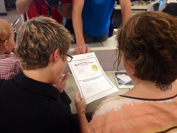 Wendy and Michelle Alfredsen receiving their same-sex marriage license in Boulder County, Wednesday June 25, 2014. (Photo: Alex Burness/Daily Camera)