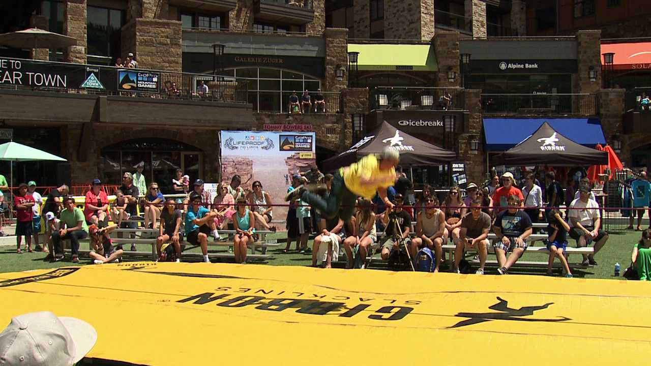Slackline competition at Vail Mountain Games