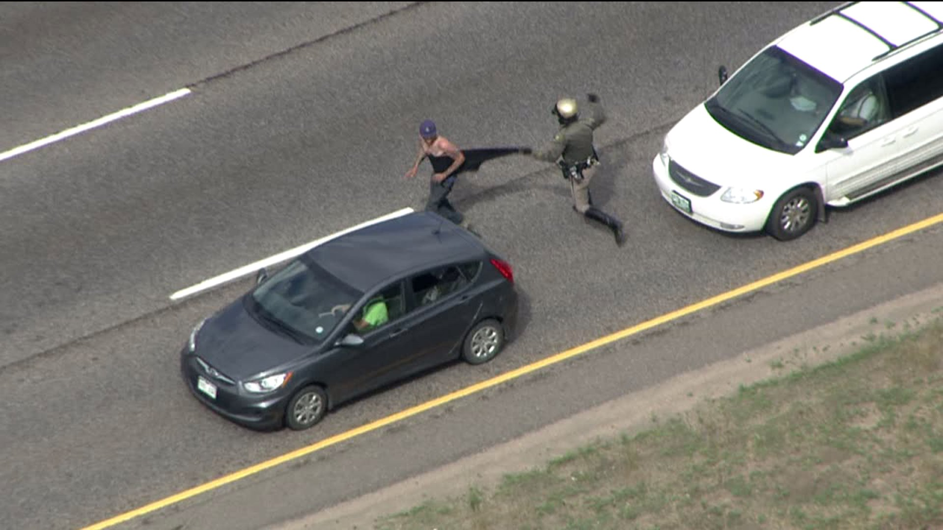 Armed carjack suspect wrestled to the ground by officer on I-70 near Lookout Mountain in Jefferson County, Colo.