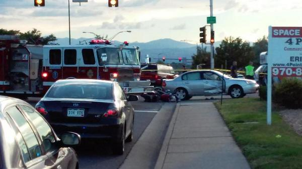 Motorcycle vs. car crash at Mississippi and Quentin in Aurora, Colo