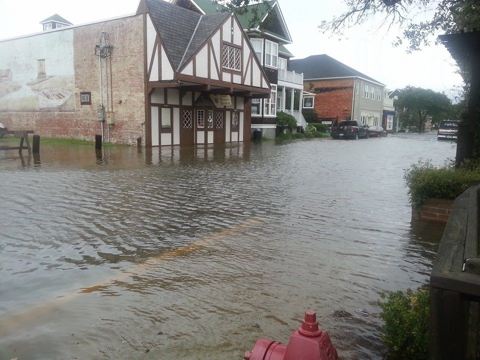 Parts of Manteo, a small town located on Roanoke Island, North Carolina, are underwater after hurricane Arthur churned up the east coast on July 4th, 2014. Photo credit: Town of Manteo