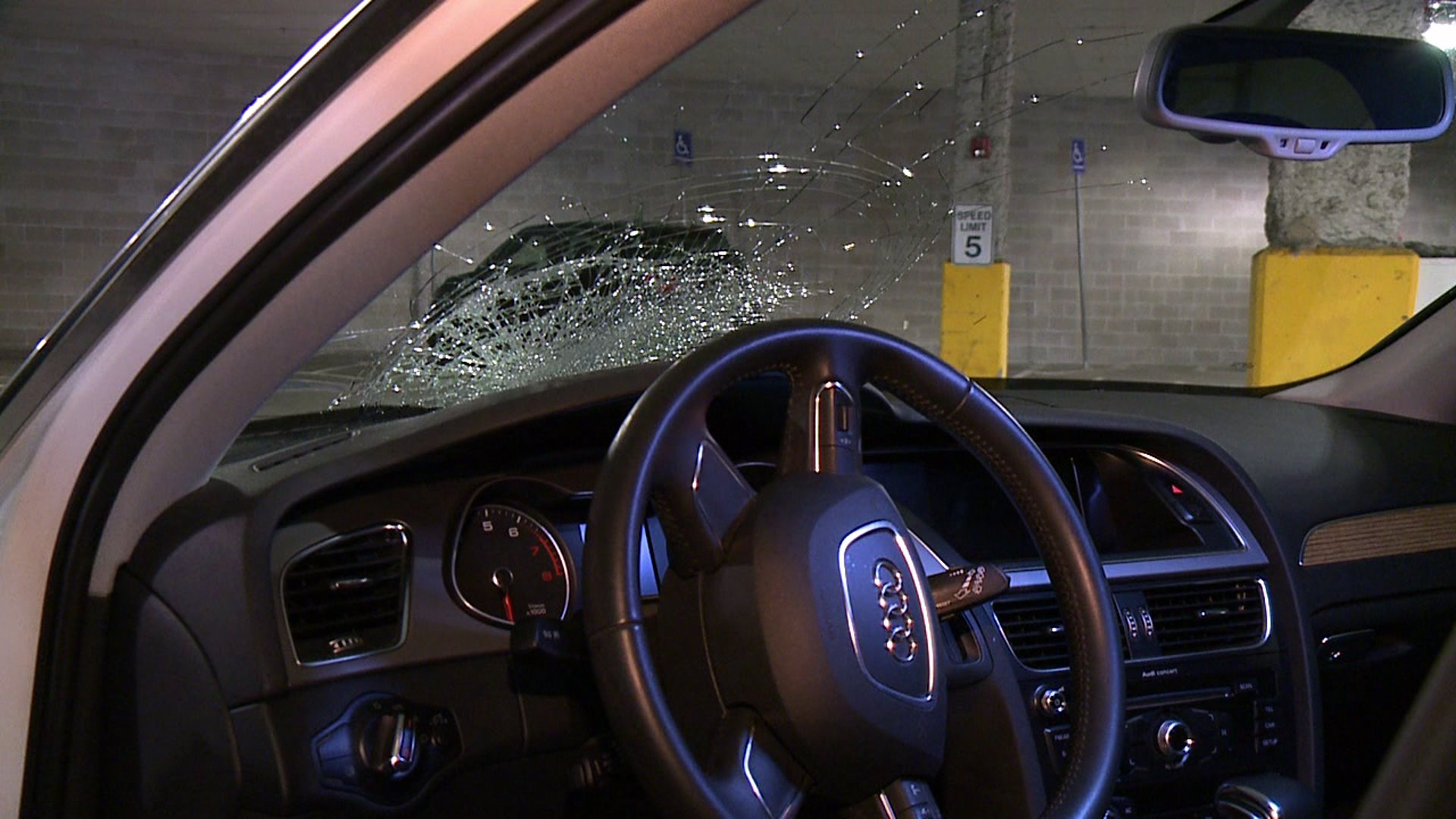 Road debris on I-25 smashes windshield