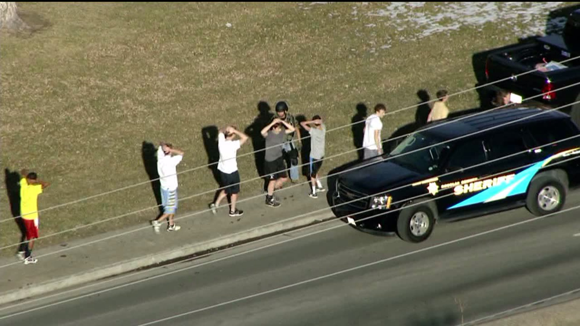 Students evacuated from Arapahoe High School in Littleton, Colo
