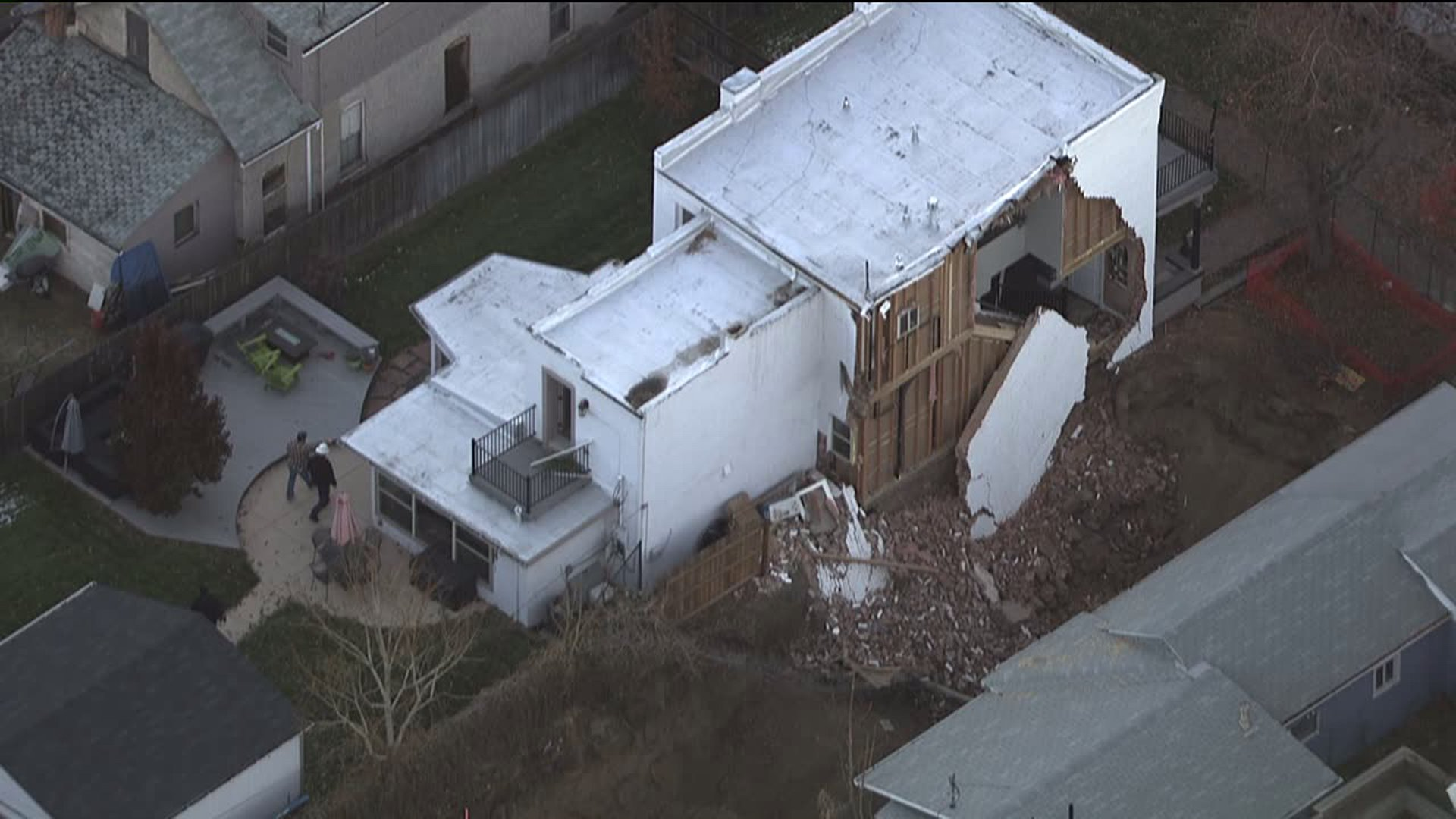 Wall collapses at home near 24th and Glenarm in Denver