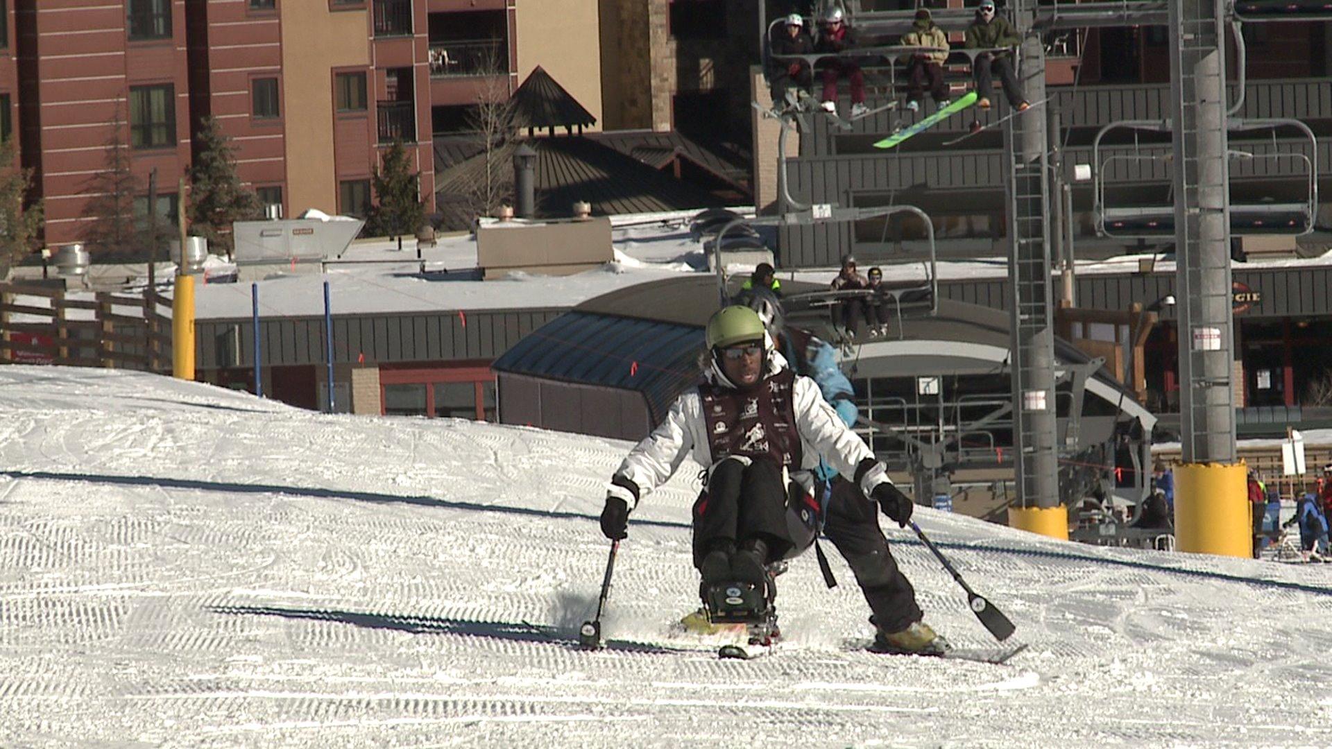 Disabled veterans skiing at Breckenridge
