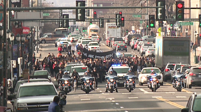 Denver Police provided an escort for the students using motorcycles, bicycles and police cruisers.