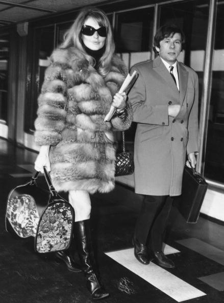 January 1967: Polish filmmaker and actor Roman Polanski with his second wife-to-be Sharon Tate (1943 - 1969) at London Airport. (Photo by Evening Standard/Getty Images)