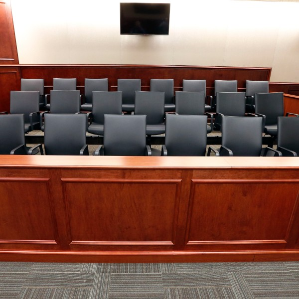 A view of the jury box inside Courtroom 201, where jury selection in the trial of Aurora movie theater shootings defendant James Holmes is to begin on Jan. 20, 2015, at the Arapahoe County District Court in Centennial. (AP Photo/Brennan Linsley, pool)