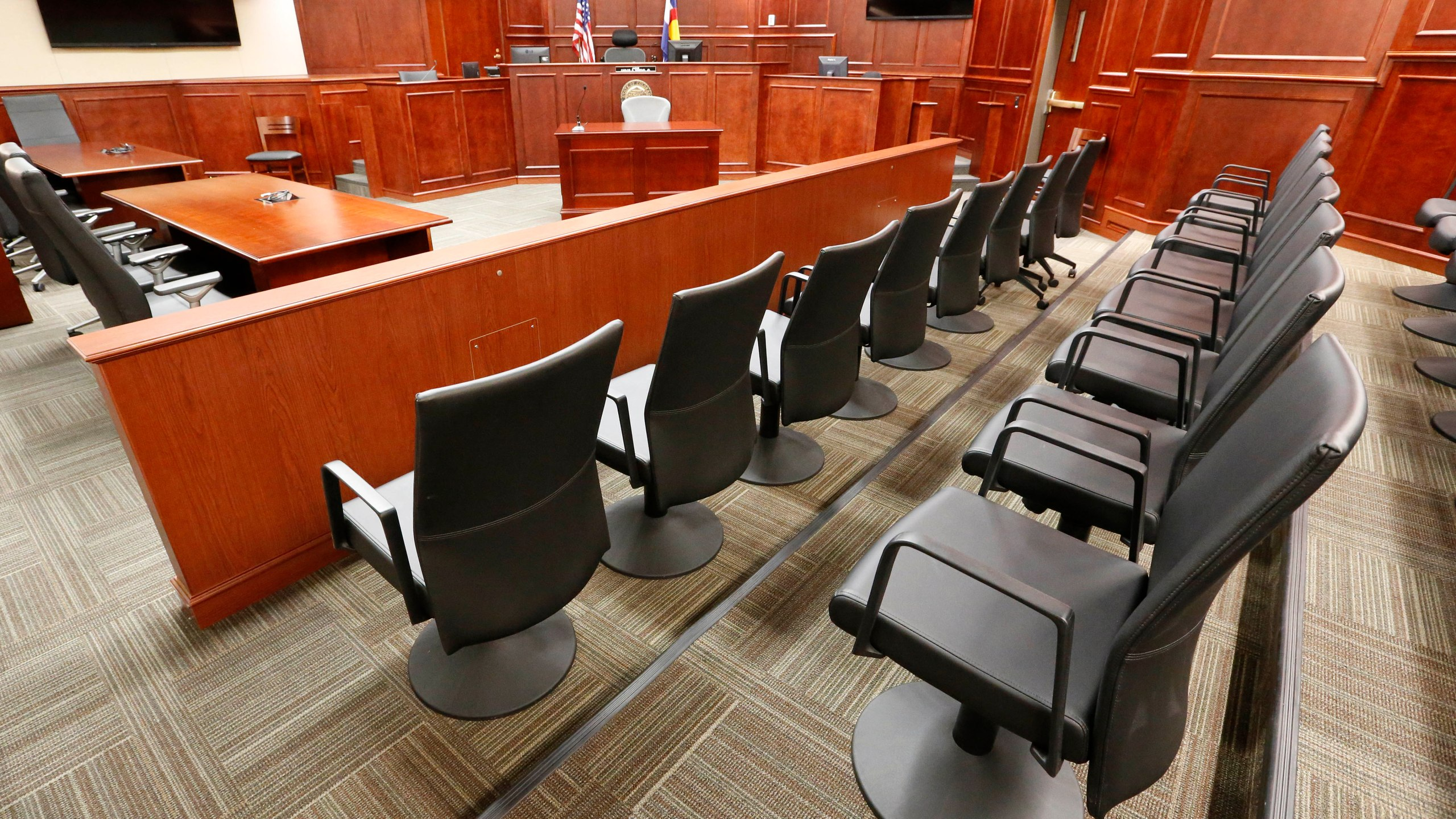 A view of the jury box, right, inside Courtroom 201, where jury selection in the trial of Aurora movie theater shootings defendant James Holmes is to begin on Jan. 20, 2015, at the Arapahoe County District Court in Centennial, Colo., Thursday, Jan. 15, 2015.