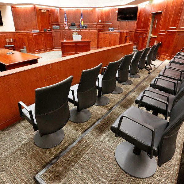 A view of the jury box, right, inside Courtroom 201, where jury selection in the trial of Aurora movie theater shootings defendant James Holmes is to begin on Jan. 20, 2015. (AP Photo/Brennan Linsley, pool)