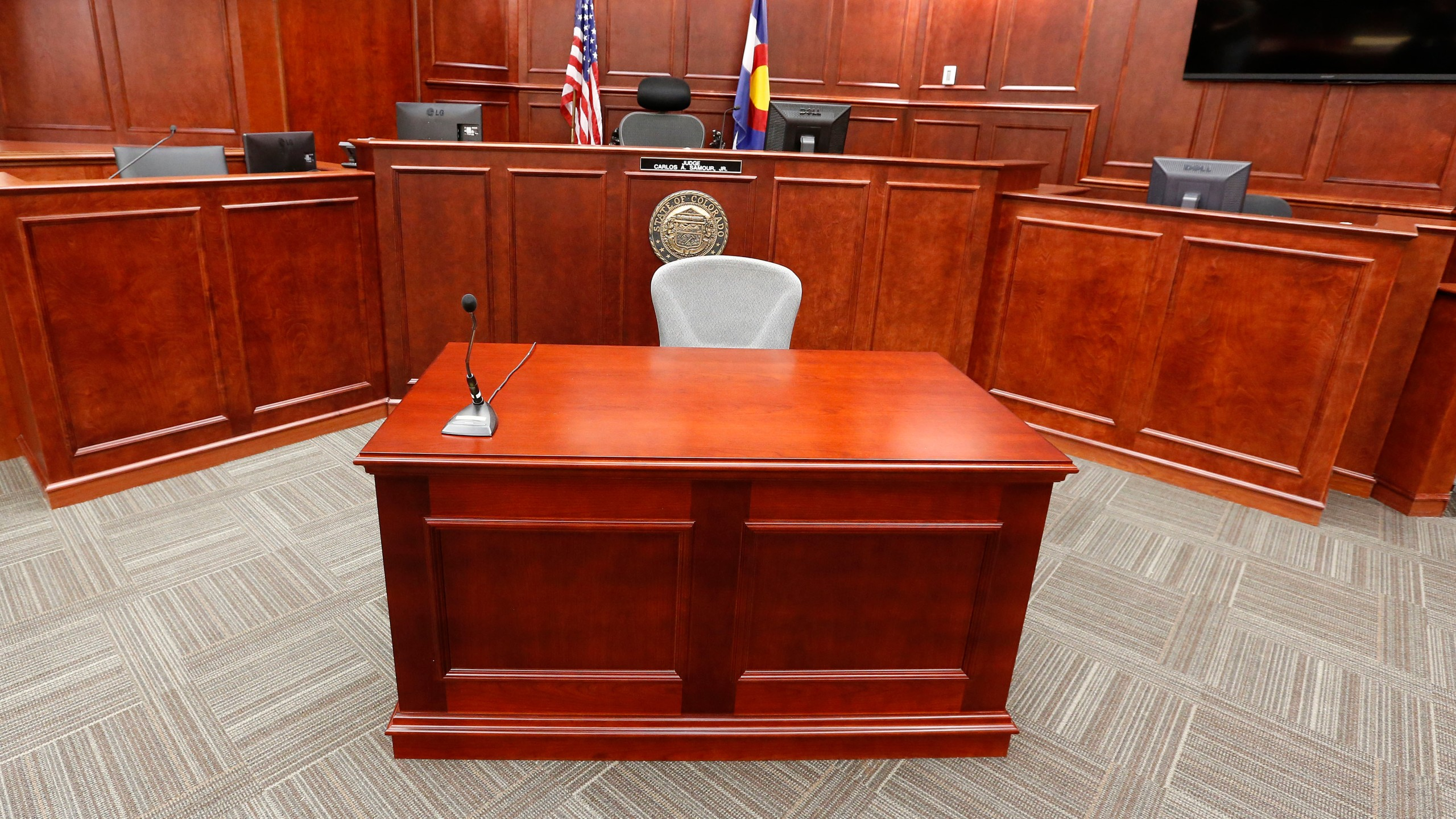 A view inside Courtroom 201, where jury selection in the trial of Aurora movie theater shootings defendant James Holmes is to begin on Jan. 20, 2015. (AP Photo/Brennan Linsley, pool)
