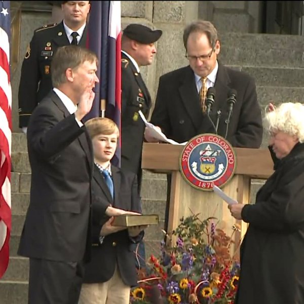 Gov. John Hickenlooper is sworn in for a second term.