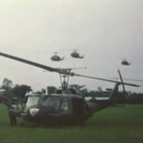 Huey helicopter during the Vietnam War