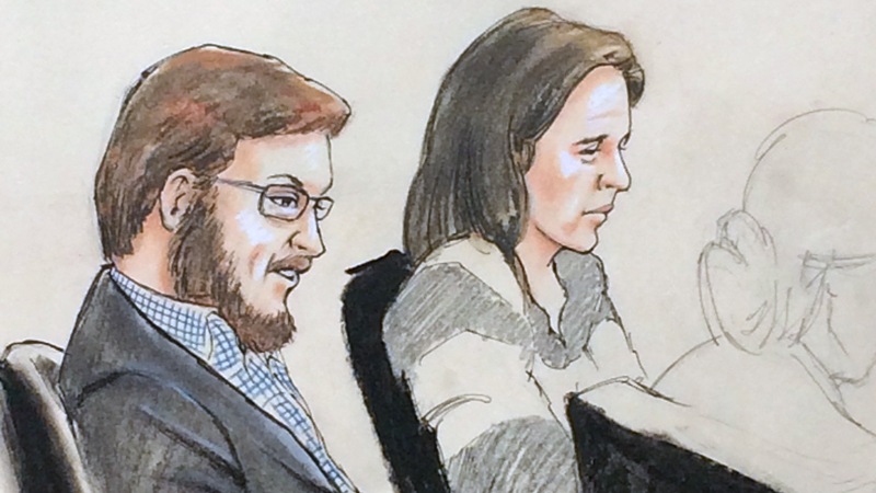 An artists sketch of James Holmes appearing in court on Jan. 20, 2015.