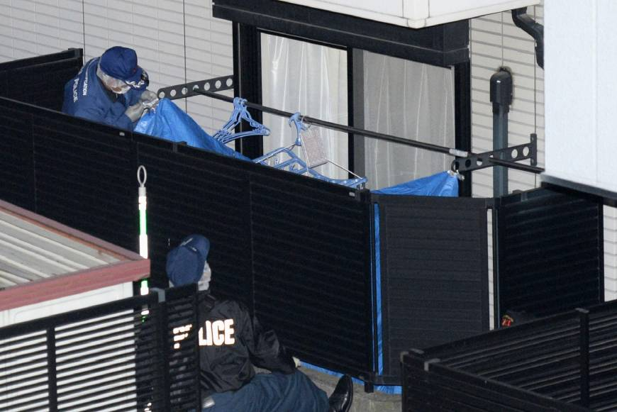 Japanese Police investigate the 19-year-old's apartment Tuesday after Mori's body was found there. (Photo: KYODO)