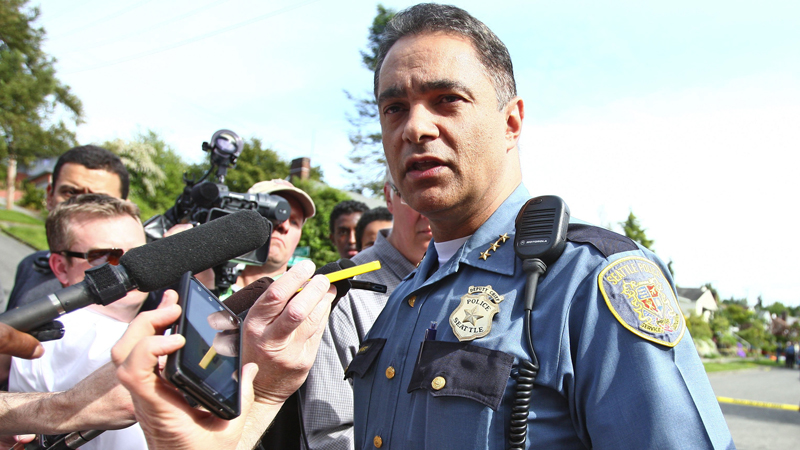 Assistant Seattle Police Chief Nick Metz addresses the media at an officer-involved shooting in 2012. (Photo: Seattle Times)