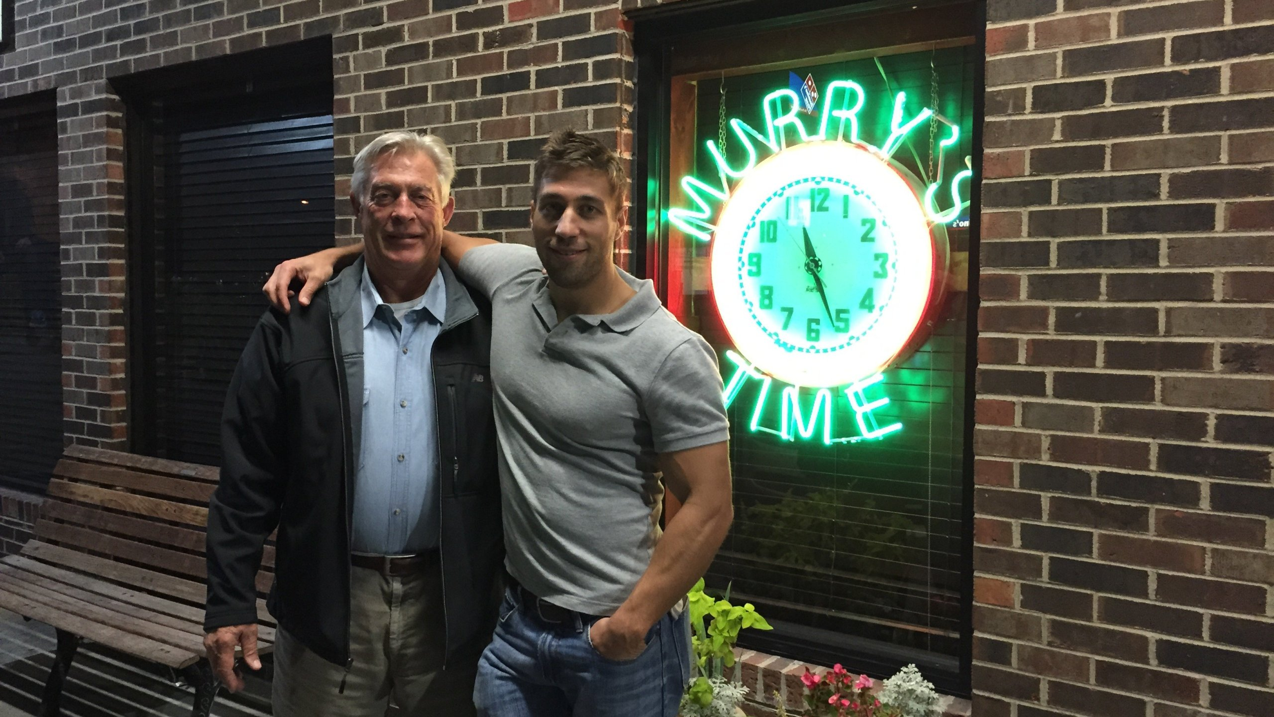 Ryan Ferguson and his father celebrate the one-year anniversary of Ryan's release on November 12, 2014.
