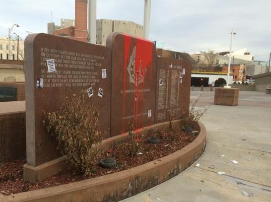 Defaced fallen DPD Officers' memorial. (Photo: Paul Makarushka)