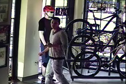Suspect #2: Hispanic male with medium/short hair, light colored V-neck shirt and blue jeans.