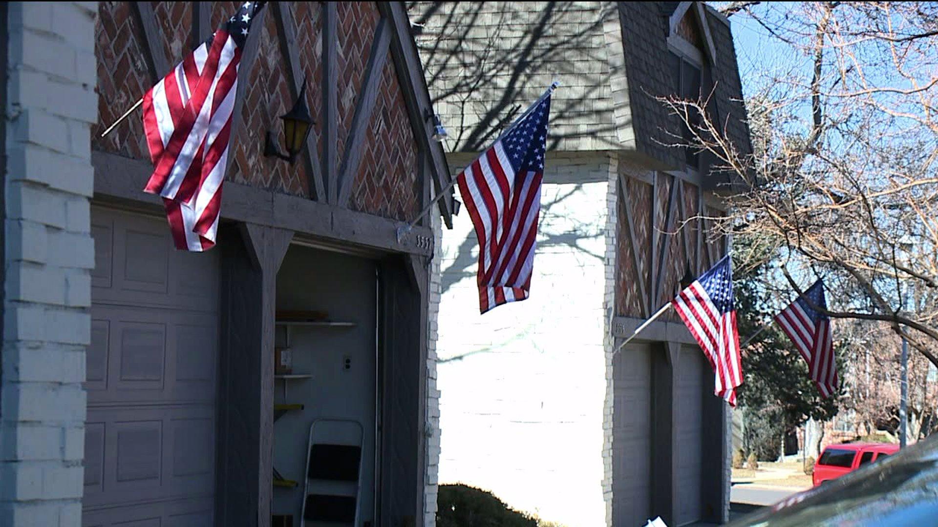 Flags in Denver's Southmoor neighborhood
