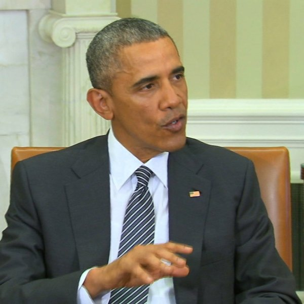 President Obama speaks in the Oval Office.